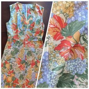 {Vintage} 70s Sleeveless Maxi Dress